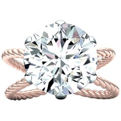 4 Carat Round GIA Certified E-VS2 Engagement Ring