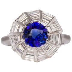 4 Carat Royal Blue Sapphire Double Vintage Revival Halo Ring 18 Karat