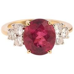 4 Carat Rubelite 0.70 Carat Diamonds 18 Carat Yellow Gold Ring