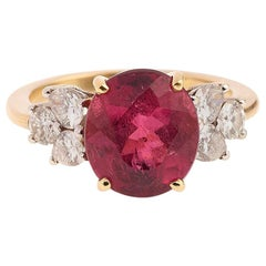 4 Carat Rubelite Diamonds 18 Carat Yellow Gold Ring