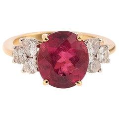 4 Carat Rubelite Diamonds 18 Carat Yellow Gold Ring