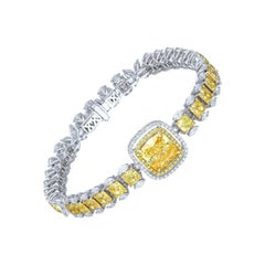 4 Carat Solitaire Canary Yellow Diamond Bracelet
