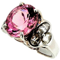 4 Carat Sprkling Pink Tourmaline and Silver Quartz Sterling Silver Ring