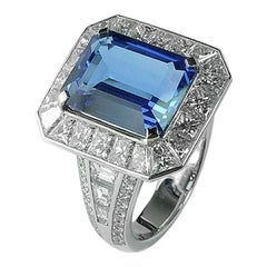 4 Carat Tanzanite and Diamonds Art Deco Ring