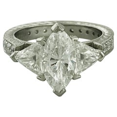 4 Carat Three-Stone Diamond Engagement Ring in Platinum with Trillion Diamonds