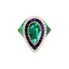4 Carat Tourmaline Amethyst Diamond Malachite Cocktail Ring