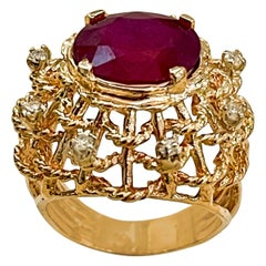 4 Carat Treated Ruby and Diamond 14 Karat Yellow Gold Cocktail Ring
