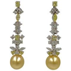 4 Carat Yellow Diamond Golden South Sea Pearl Dangle Earrings 18 Karat