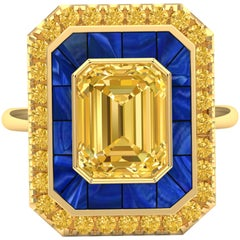 4 Carat Yellow Sapphire, Yellow Diamond and Royal Blue Azzurite Cocktail Ring