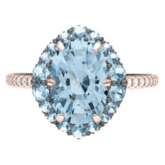 4 Carat Aquamarine and Diamond Rose Gold Ring