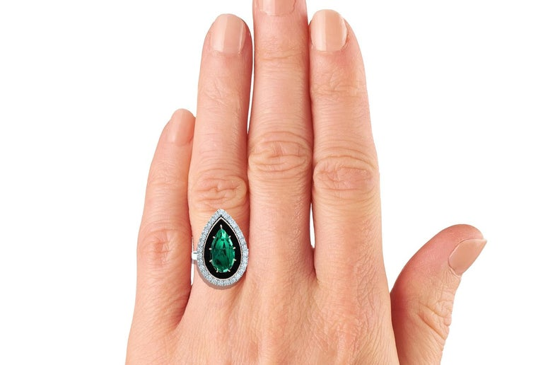 Art Deco 4 Carat Blue Green Tourmaline Onyx and Diamond Ring  For Sale