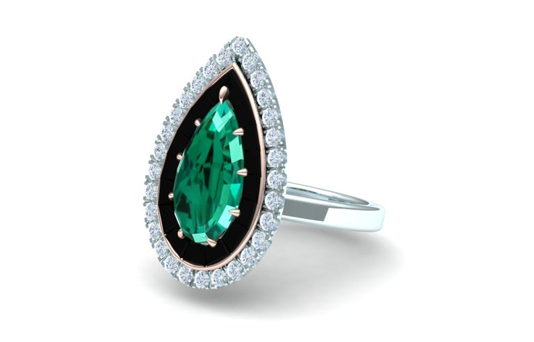 Pear Cut 4 Carat Blue Green Tourmaline Onyx and Diamond Ring  For Sale