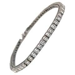4 Carats Classic Diamond Tennis Bracelet Bangle VVS1 Round Cut 18K White Gold