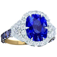 4 Carat Cushion GIA Unheated Untreated Sapphire and Diamond Cocktail Ring