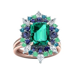 4 Carats Green Blue Tourmaline Diamond Cocktail Ring