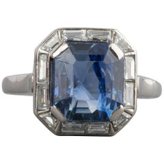 4 Carat Sapphire and Diamonds French Art Deco Ring