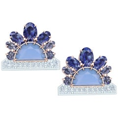4 Carats Sapphire Diamond and Chalcedony Rose and White Gold Earrings