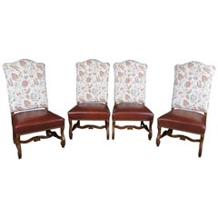 4 Century Furniture Old World Tuscan Paisley Leather Amelia Dining Chairs 52-541