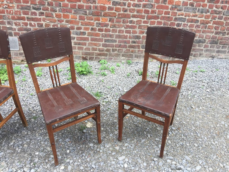 4 chairs Art Nouveau period Secession Wien style in wood, brass and leather.