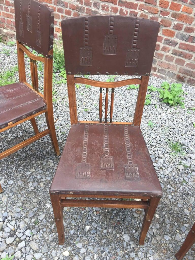 Vienna Secession 4 Chairs Art Nouveau Period Secession Wien Style, circa 1900 For Sale