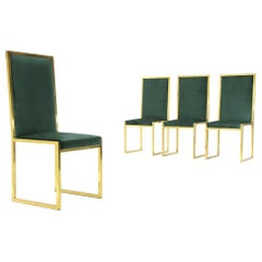 4 Chairs in Green Velvet and Brass, 1970s