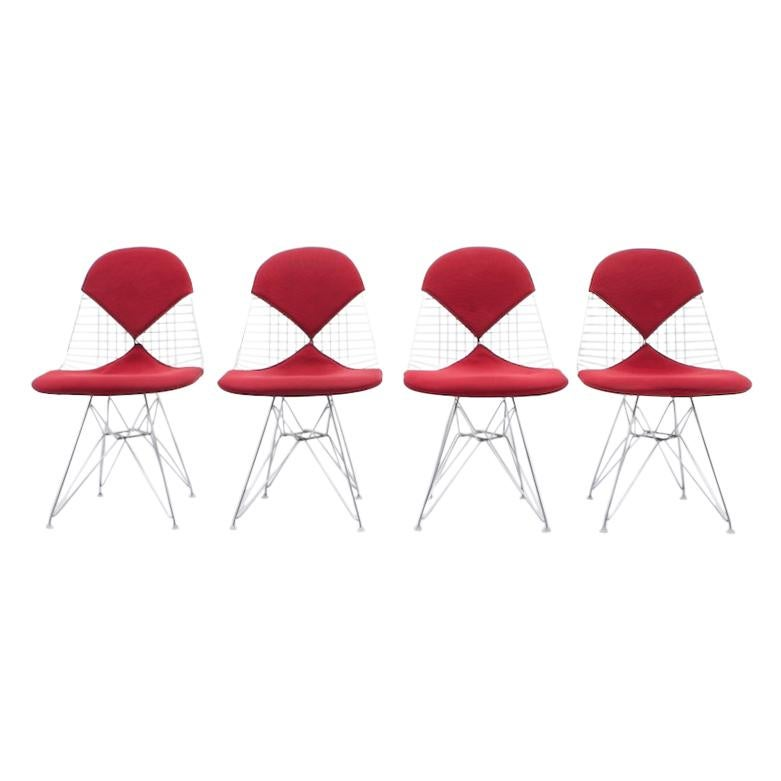 4 Charles & Ray Eames DKR Wire & Eiffel Side Chairs