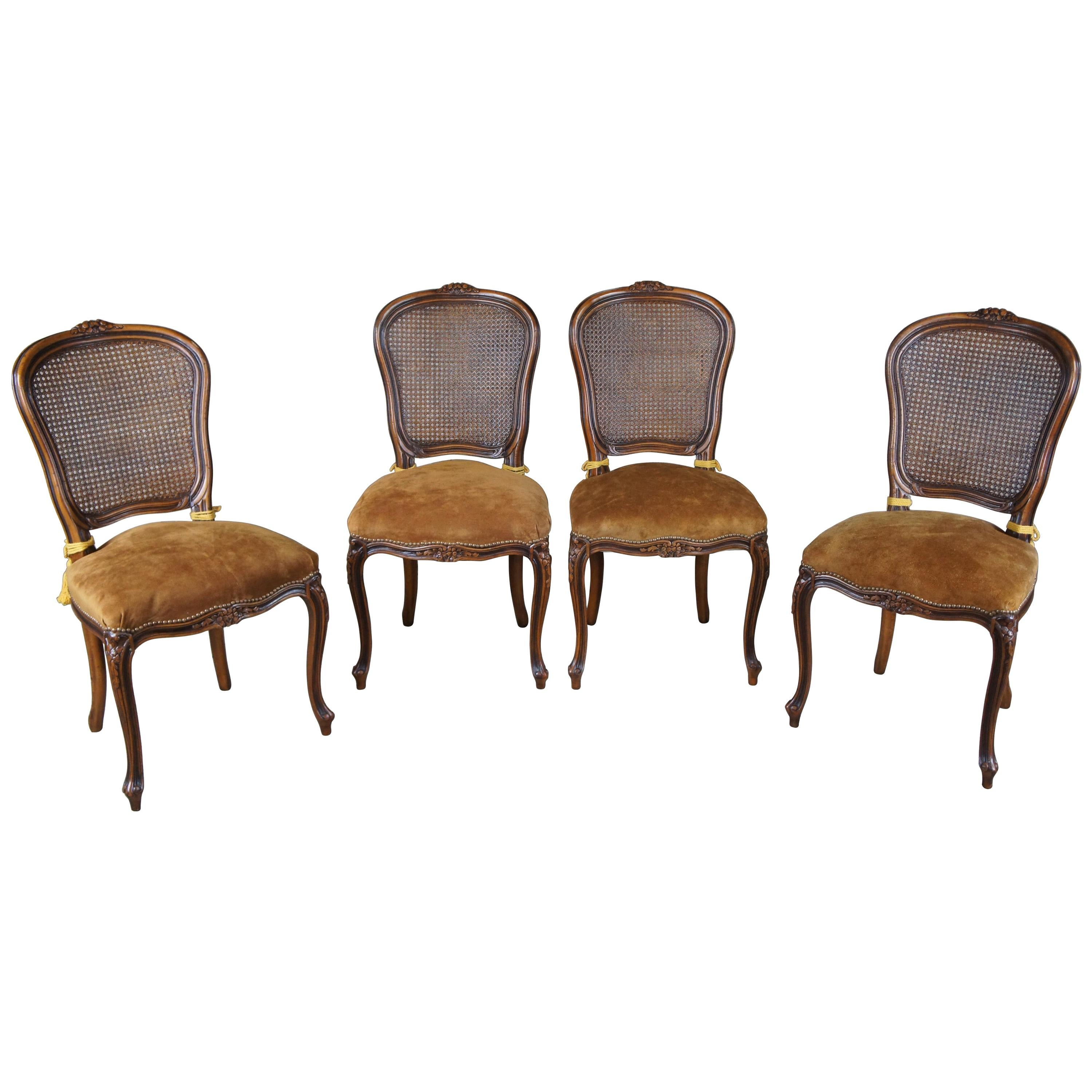 4 Chateau d'Ax French Louis XV Caned Suede Nailhead Side Dining Chairs Italian