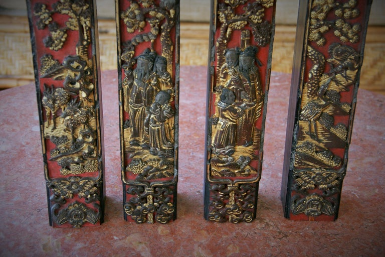 4 Chinese Architectural Elements In Good Condition For Sale In Douglas Manor, NY