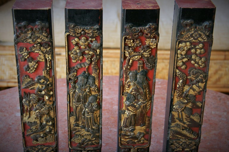 8-196 Chinese architectural fragments from cabinet or table late 19th century Set of 4.
