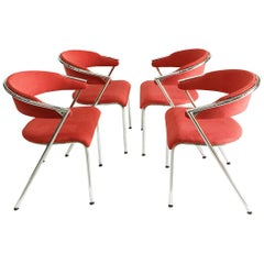 4 Chrome Chairs by Lande, Netherlands, 1990s