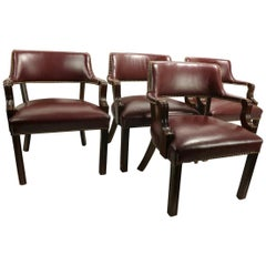4 Classical Leather and Wood Office Desk Armchairs by Leathercraft