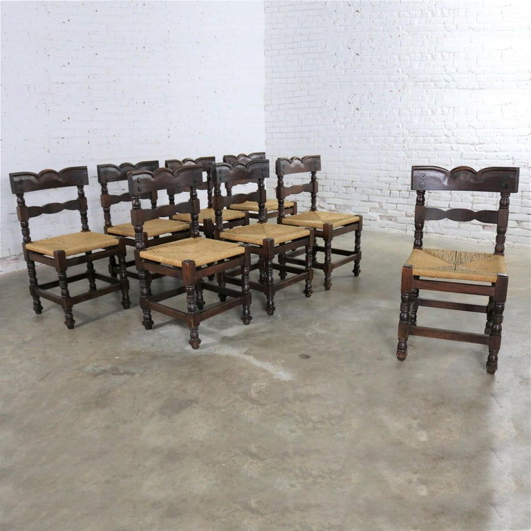 Cool 4 Colonial Style Dining Chairs With Rush Seats Stamped Hecho En Mexico Download Free Architecture Designs Rallybritishbridgeorg