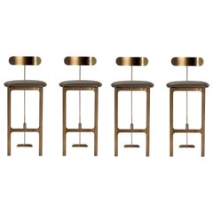 4 Contemporary Sleek Bar Stools, Grey Faux Leather/ Antique Bronze