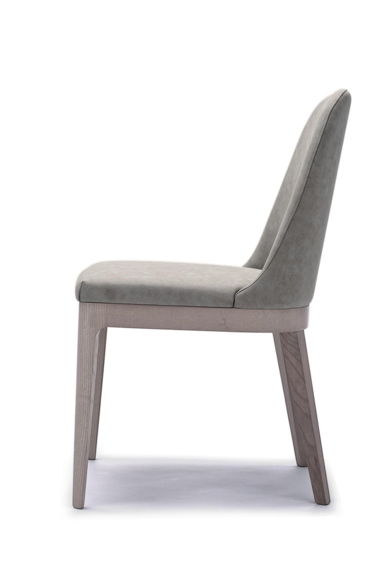 Italian 4 Contemporary Studio Tecnico Interna8 4 Chairs Wood Leather For Sale