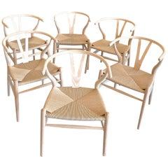 4 Contemporary Wishbone White Oak Riff Wood Armchairs