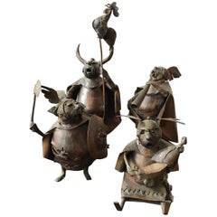 4 Copper Viking Statues