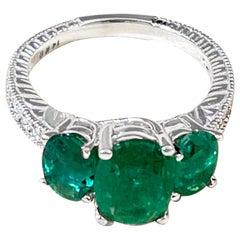 4 Ct Emerald & Diamond Three-Stone Ring Past Present Future 14 Karat White Gold