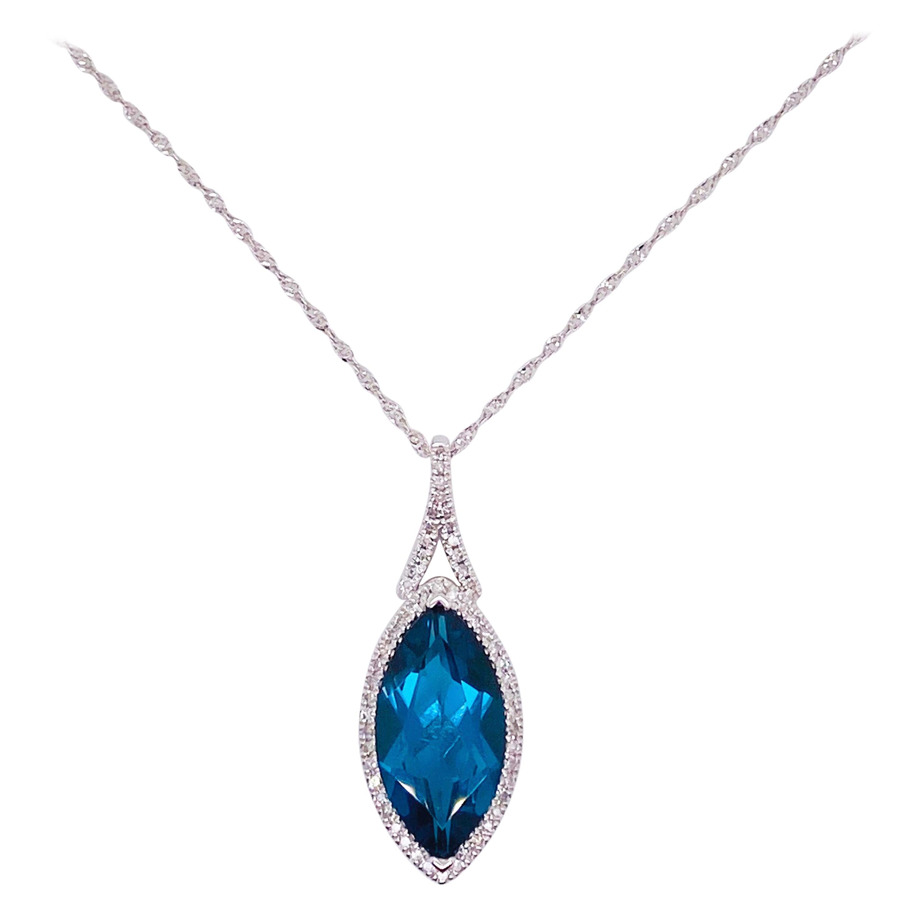 4 Carat London Blue Topaz & Diamond Halo Pendant 14 Karat Gold Marquise Necklace