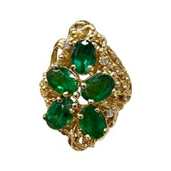 4 Ct Natural Emerald, Five Oval Stone and Diamond Ring 14 Karat Yellow Gold