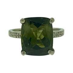 4 Ct Natural Green Tourmaline Ring in 14 Karat White Gold