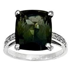 4 Ct Natural Green Tourmaline Ring in 14 Karat White Gold Ring