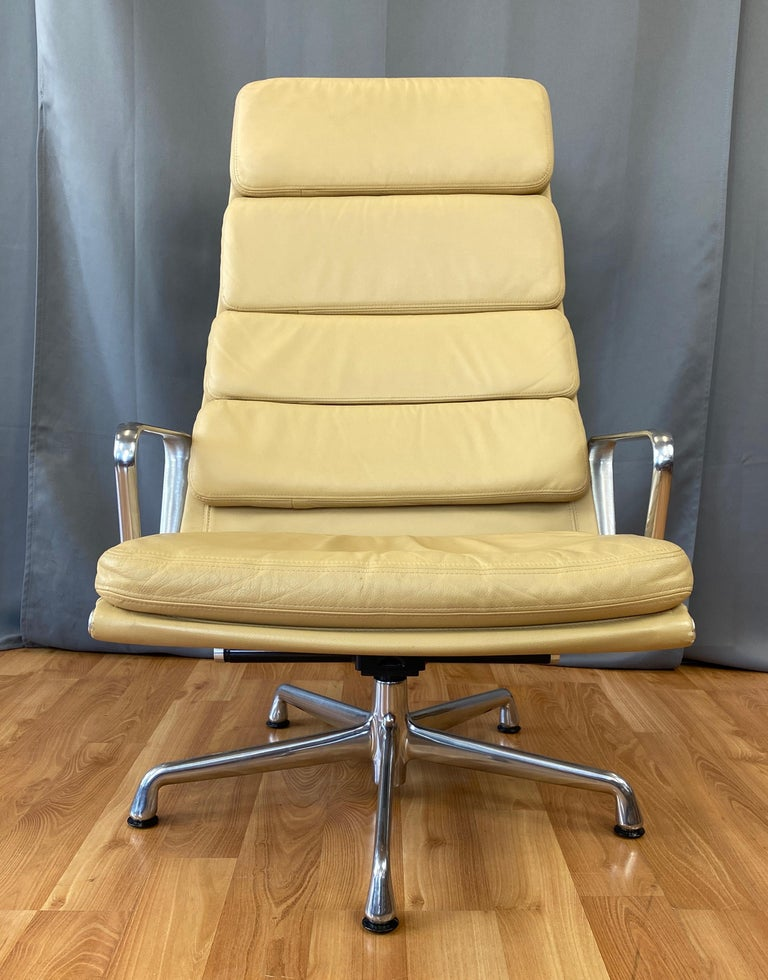 American 4 Cushion Eames Soft Pad Lounge Chair for Herman Miller in Leather