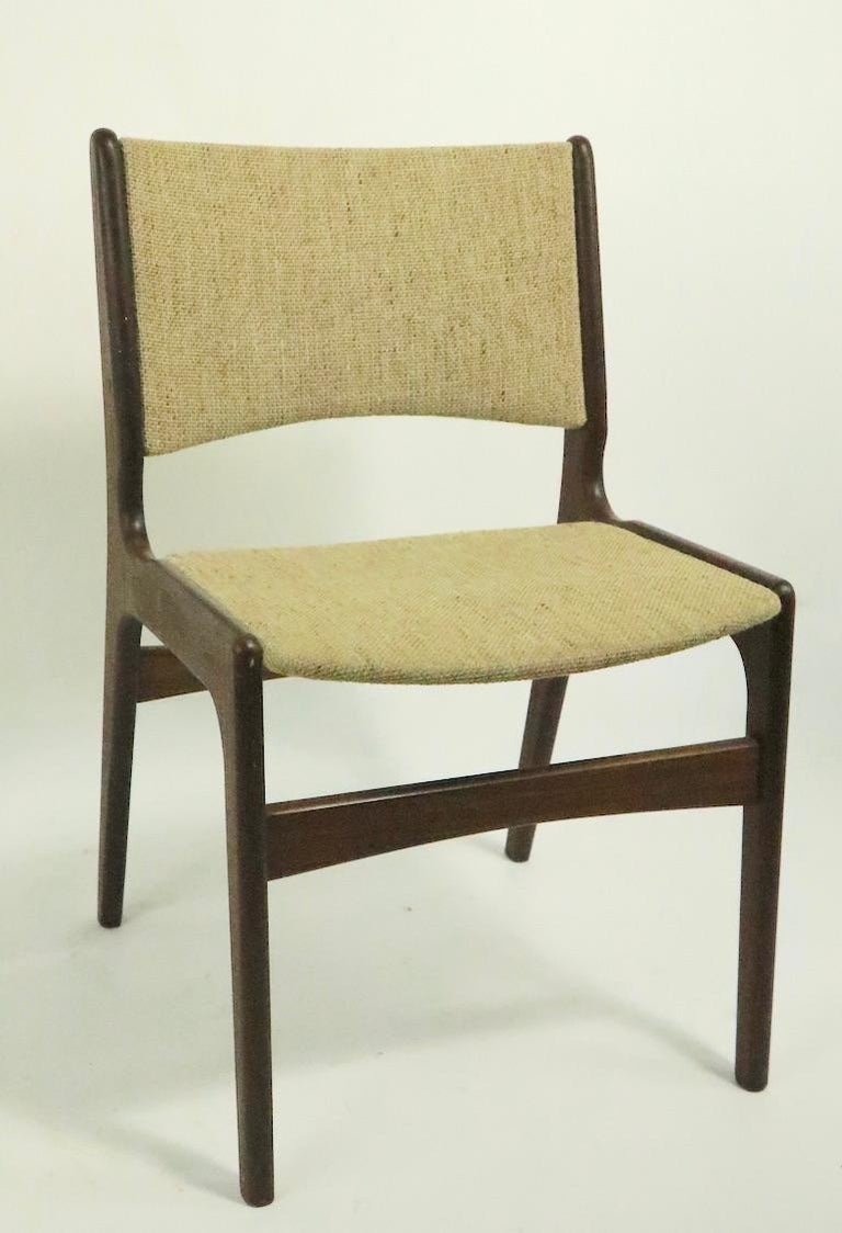 Upholstery 4 Danish Modern Dining Chairs by Odense Maskinsnedkeri For Sale