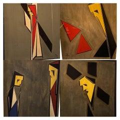 4 Designs, J.J.N.Exter, Dated 1940, Exhibited 'Rijksmuseum Amsterdam'