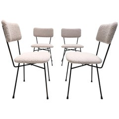 4 Dining Chairs by Pizzetti Rome Italy 1950s, New Wool Boucle Upholstery