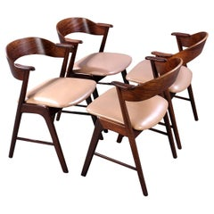 4 Dining Chairs, Leather Seats, Rosewood, Midcentury