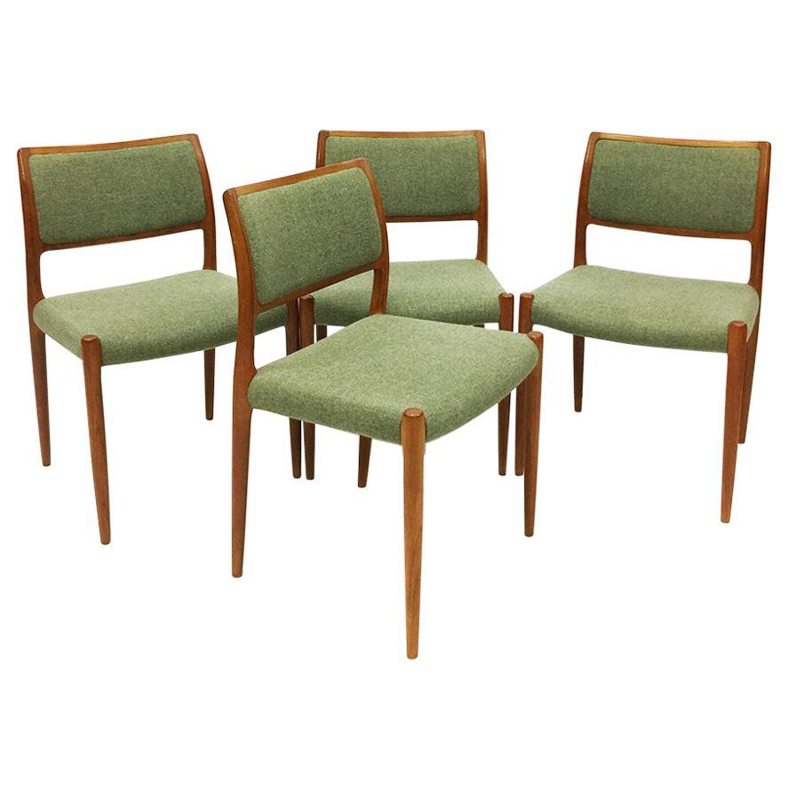4 Dining chairs model 80 by Niels Otto Møller for J.L. Møller-Højbjerg, Denmark