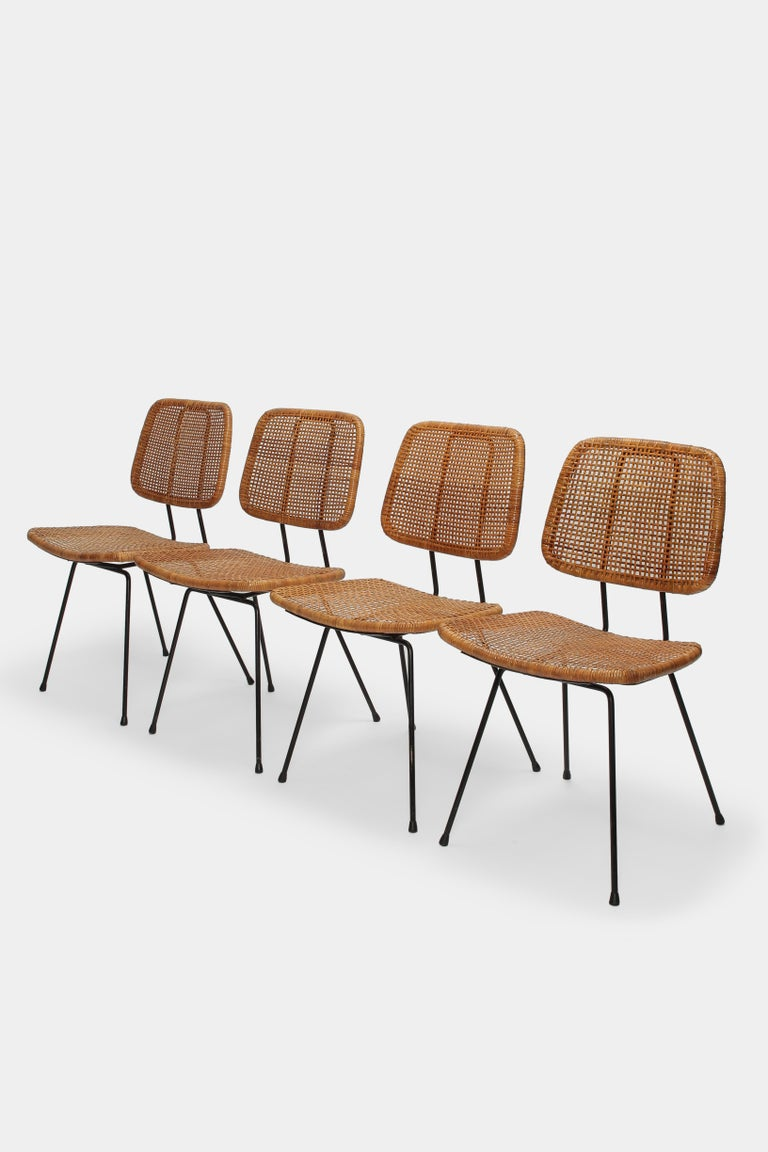 Mid-Century Modern 4 Dirk Van Sliedregt Chairs 550 Rohé Noordwolde, 1950s For Sale