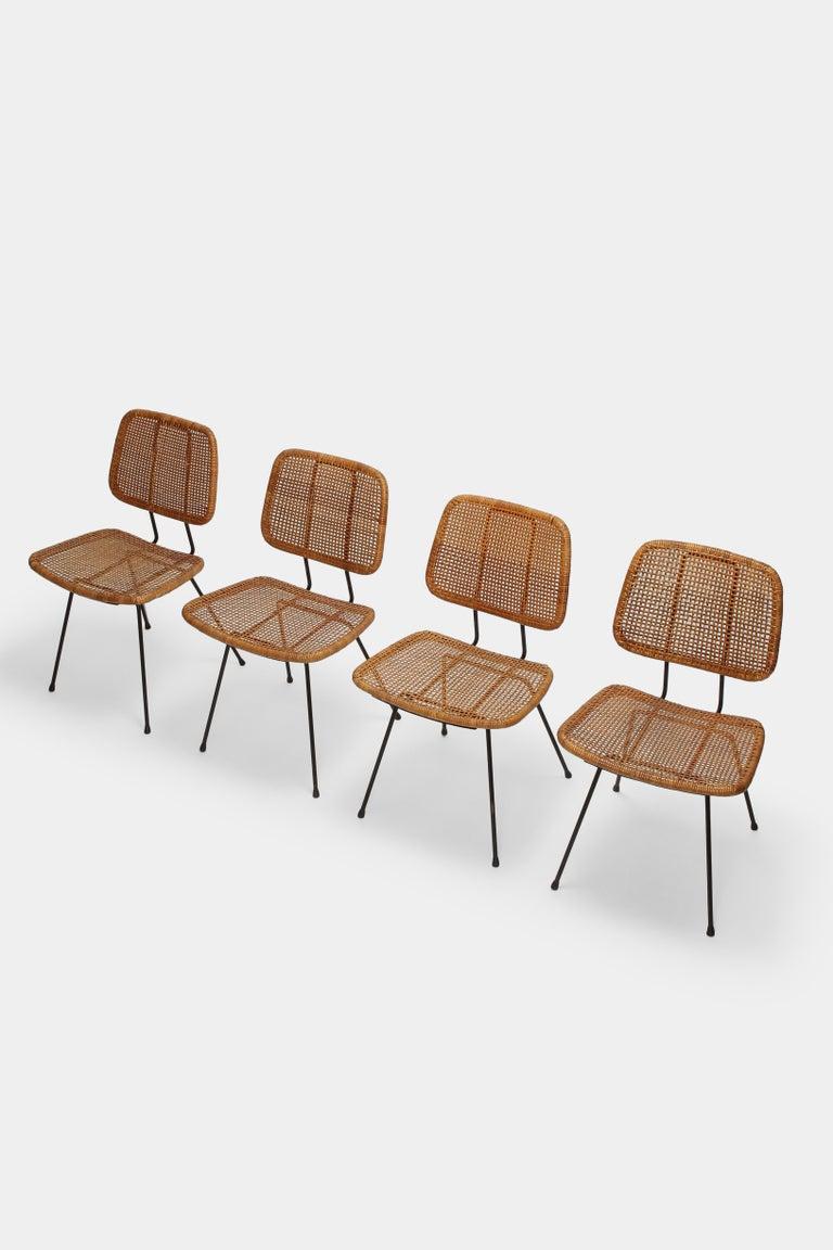 Dutch 4 Dirk Van Sliedregt Chairs 550 Rohé Noordwolde, 1950s For Sale