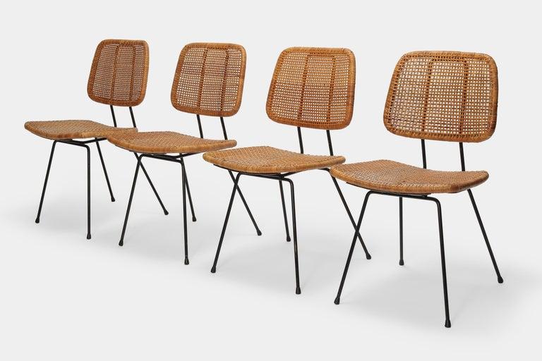 4 Dirk Van Sliedregt Chairs 550 Rohé Noordwolde, 1950s In Good Condition For Sale In Basel, CH